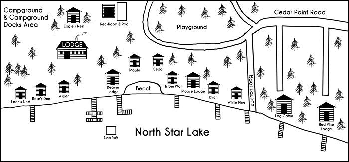 Black and white drawn map of the cabins at cedar point resort in Marcell, MN
