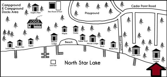 Black and white drawn map of the cabins at Cedar Point Resort